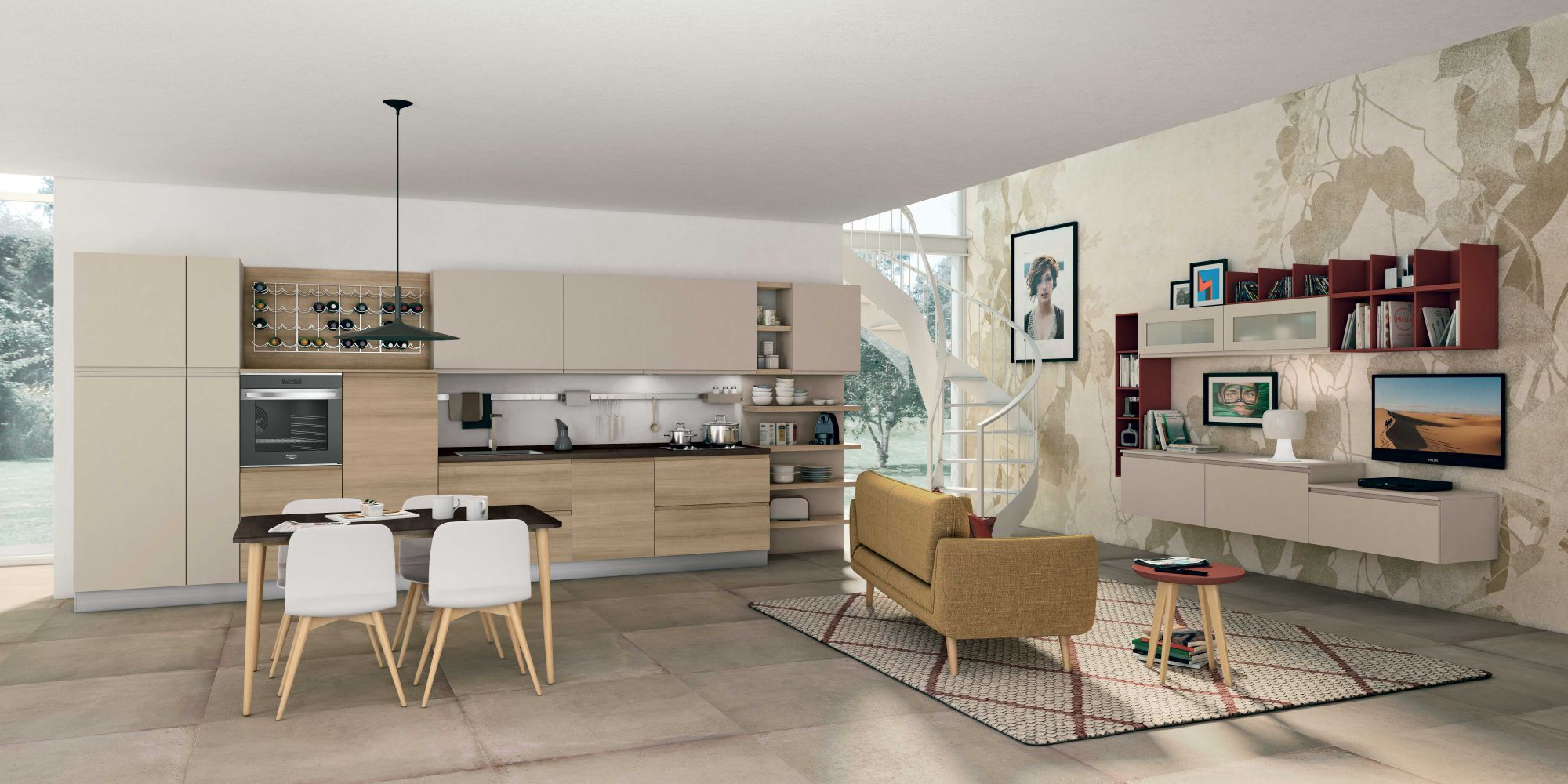 Cucina jey di creo kitchens stile e design essenziale - Living e cucina ...