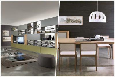 Collezione HORIZON Living di Mobilgam - versatile con moderne possibilità compositive - librerie, tavoli e sedie - PT. 1/2