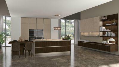 Cucina LUBE CLOVER LUX - l'ergonomica forma dell'anta