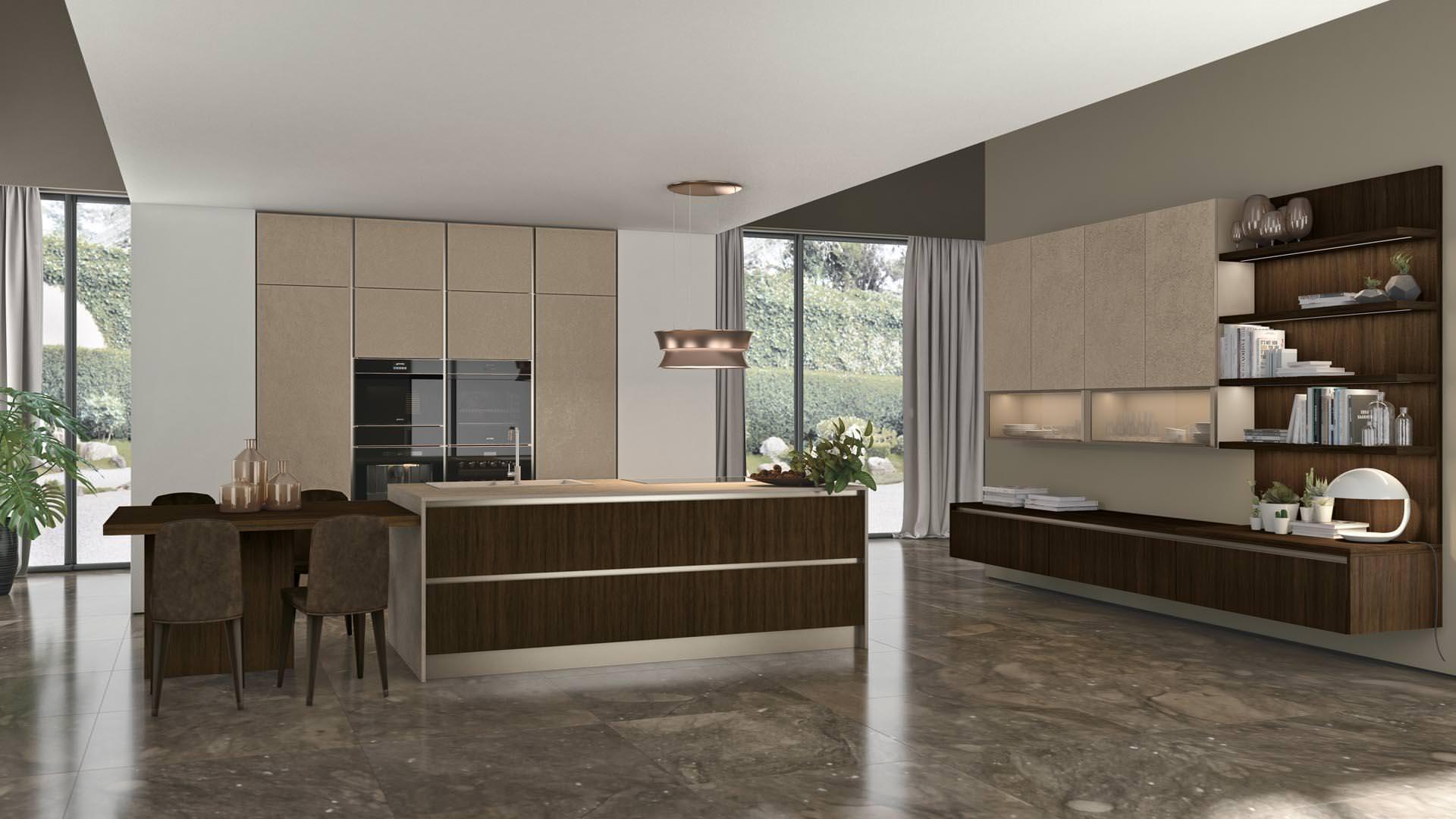 Cucina lube clover lux l 39 ergonomica forma dell anta rafaschieri arredamenti - Lube cucine moderne ...