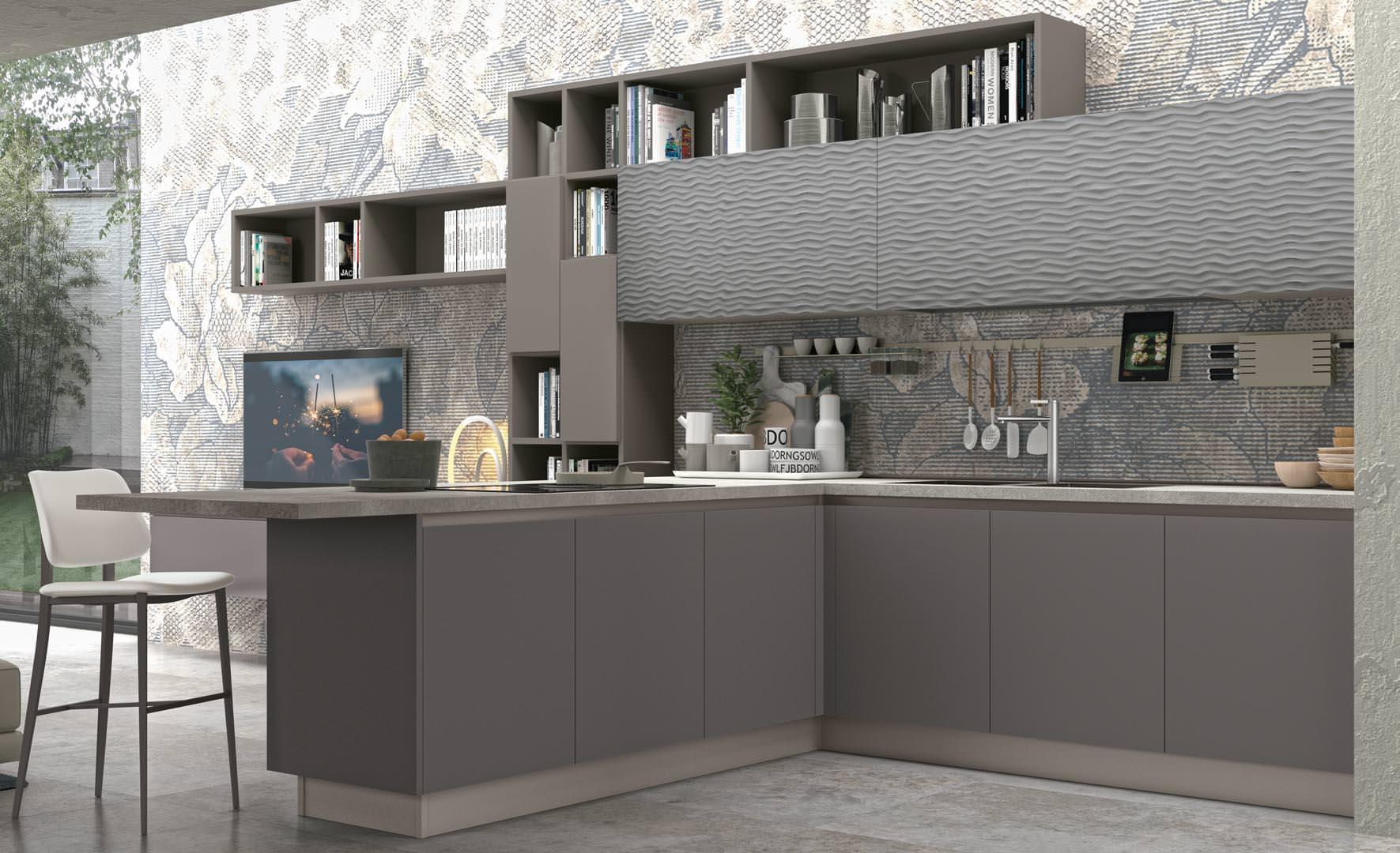 Cucina lube clover lux l 39 ergonomica forma dell anta for Arredamenti bari e provincia
